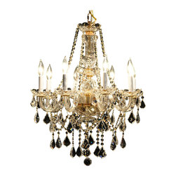 "Joshua Marshal Home Collection - 8 Light 22"" Gold Chandelier Victorian Design - The dense crystal distribution throughout this stunning design gives this collection an impressive and dynamic presence that will enhance any decor. It is 22"" wide with a Combination of 100% genuine Swarovski Spectra 14mm crystals (338 pieces), with European 30% lead 40mm ball crystals (1 pieces), European 30% lead 2.0"" french cut crystals (37 pieces) and European 30% lead 2.5"" french cut crystals (29 pieces)."