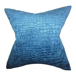 """The Pillow Collection - Jensine Solid Pillow Lapis 20"""" x 20"""" - Complete your home's styling needs with this beautiful accent pillow. This square pillow features a majestic lapis blue hue and an appealing design. The timeless detail of this 20"""" pillow offers a touch of elegance to your interiors. Combine with solids and other patterns for a stylish decor look. Made of 100% high-quality polyester material."""