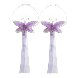 "Bugs-n-Blooms - Dragonfly Tie Backs Purple Multi-Layered Dragonflies Tieback Pair Set Decoration - Window Curtains Holder Holders Tie Backs to Decorate for a Baby Nursery Bedroom, Girls Room Wall Decor - 5""W x 4""H Pink & White Multi-Layered Curtain Tieback Set Dragonfly 2pc Pair - Beautiful window curtains tie backs for kids room decor, baby decoration, childrens decorations. Ideal for Baby Nursery Kids Bedroom Girls Room.  This gorgeous 3D dragonfly tieback set is embellished with sequins, glitter and has a beaded body. This pretty dragonfly decoration is made with a soft bendable wire frame & have color match trails of organza ribbons. Has 2 adjustable wires to wrap around the curtains; or simply remove & add your own ribbon for a personal & custom look. Visit our store for more great items. Additional styles are available in various colors, please see store for details. Please visit our store on 'How To Hang' for tips and suggestions. Please note: Sizes are approximate and are handmade and variances may occur. Price is for one pair (2 piece)"