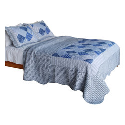 Blancho Bedding - [Blue Squares] Cotton 3PC Vermicelli-Quilted Patchwork Quilt Set (Full/Queen) - Set includes a quilt and two quilted shams. Shell and fill are cotton. For convenience, all bedding components are machine washable on cold in the gentle cycle and can be dried on low heat and will last you years. Intricate vermicelli quilting provides a rich surface texture. This vermicelli-quilted quilt set will refresh your bedroom decor instantly, create a cozy and inviting atmosphere and is sure to transform the look of your bedroom or guest room. Dimensions: Full/Queen quilt: 90 inches x 98 inches. Standard sham: 20 inches x 26 inches.