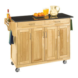 Home Styles - Home Styles Create-a-Cart 49 Inch Black Granite Top Kitchen Cart in Natural - Home Styles - Kitchen Carts - 92001014 - Home Styles Create-a-Cart Kitchen Cart in a natural finish with a black granite top features solid wood construction, four cabinet doors open to storage with three adjustable shelves inside, handy spice rack with towel bar, paper towel holder, and heavy duty locking rubber casters for easy mobility and safety.