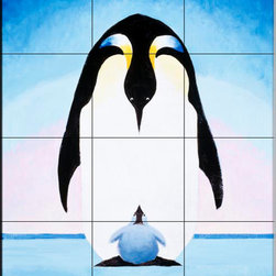 The Tile Mural Store (USA) - Tile Mural - Emperor Penguins Iii - Kitchen Backsplash Ideas - This beautiful artwork by Toni Goffe has been digitally reproduced for tiles and depicts a Penguin and baby.  Images of waterfowl on tiles are great to use as a part of your kitchen backsplash tile project or your tub and shower surround bathroom tile project. Pictures of egrets on tile, images of herons on tile and decorative tiles with ducks and geese make a great kitchen backsplash idea and are excellent to use in the bathroom too for your shower tile project. Consider a tile mural of water fowl for any room in your home where you want to add interesting wall tile.
