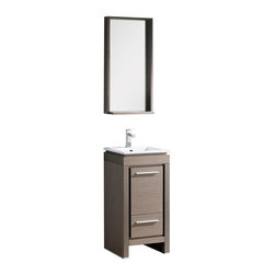 "Fresca - Fresca Allier 16"" Gray Oak Modern Bathroom Vanity w/ Mirror, Gray Oak - Fresca Allier 16"" Gray Oak Modern Bathroom Vanity w/ Mirror"
