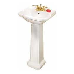 Renovators Supply - Pedestal Sinks White China Cloakroom Space-saving Pedestal Sink | 19355 - Petite Pedestal Sinks: Classic small American sink takes an English turn. Easy to clean Grade A vitreous china. Open backed pedestal for easy installation even with non-standard rough-ins. The white vitreous china cloak room small pedestal sink measures 19 inch wide, 33 inch high, projects 15 inch, and is 5 3/4 inch deep. Backsplash is 1 7/8 inch high. Takes a 4 inch centerset faucet (not included). Soap sold separately.