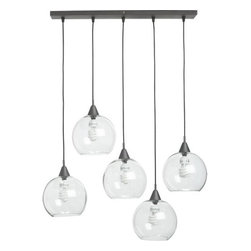 Firefly Pendant Lamp - I like this industrial chandelier for its modern twist that allows you to suspend five glass globes from one black iron bar. Go for a fomal look by hanging globes at the same level or mix things up by hanging them at different heights.
