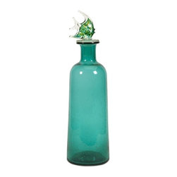 IMAX CORPORATION - Artemis Large Glass Bottle with Stopper - Send your message in a bottle in the Artemis glass jar. Made of sea blue glass and topped with a glass fish stopper, this bottle has fins!. Find home furnishings, decor, and accessories from Posh Urban Furnishings. Beautiful, stylish furniture and decor that will brighten your home instantly. Shop modern, traditional, vintage, and world designs.