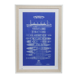 """Titanic Blueprint With Frame - Authentic nautical blueprints in a premium quality wooden white frame and linen matting. Dimensions: 45"""" height, 31"""" width, 0.5"""" depth"""