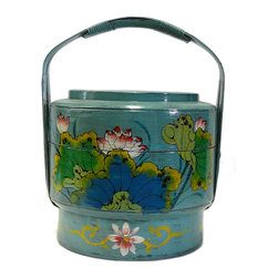 Golden Lotus - Chinese Turqouise Blue Color Floral Round Wood Basket - This is an old round wood basket with new paint. It is a charm oriental decorative piece for home. ( hand-painted item, there is variation in graphic )