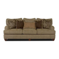 Klaussner - Classic Sofa in Parchment - Walker - Parchment color. The elegant sophistication of this sofa collection is in a class by itself. Attractive low profile. Rolled arms. Welt details. Wood bun feet and four pillows plus a lumbar pillow make the Walker collection a must for any home decor. 99 in. L x 42 in. W x 35 in. H (158 lbs. ).