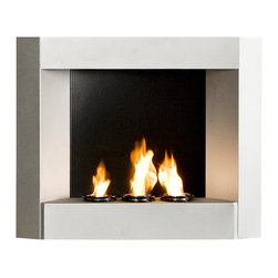 Holly & Martin - Hallston Wall-Mount Fireplace, Silver - Enliven any space with this wall mount gel fuel fireplace. This piece is small enough to go anywhere and can be hung as easily as a picture. The copper finish works well with all decorating styles and themes. This wall mount fireplace will hold up to 3 cans of gel fuel providing a rich fiery glow perfect for relaxation. Each can lasts up to 3 hours on a single burn and puts off up to 3,000 BTU's. Gel fuel must be purchased separately. This wall mount fireplace also makes a convenient and unique space for burning and displaying candles simply by placing the included snuffer cover on top of the gel fuel can openings.