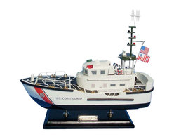 """Handcrafted Model Ships - USCG Motor Lifeboat 16"""" - Wooden United States Coast Guard Model - Sold fully assembled. Ready for Immediate Display - Not a model ship kit... Honoring the hard work and dedication of the United States Coast Guard, the USCG Motor Lifeboat model is a well-crafted replica of the real boats used by the US Coast Guard. 16"""" Long x 5"""" Wide x 15"""" High (1:35 Scale)"""