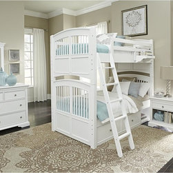 NE Kids - Walnut Street Hayden Twin Over Twin Bunk Bed - White Brown - FUB551 - Shop for Bunk Beds from Hayneedle.com! The ultimate space-saver the Hayden Twin Over Twin Bunk Bed White helps two kids share the same room without it feeling cramped or cluttered. This sturdy bunk bed set features a frame built from the finest poplar solids and features a complete slat system that holds two twin-sized mattresses without needing a box spring. The lower bunk is offered with an optional trundle or two roomy pull-out drawers and a small open storage cubby while the top bunk is easily accessed on either side with the included ladder and features a hanging nightstand on the guardrail. A bright white finish and select veneers give this piece its look pairing with the slatted design of the head- and footboards and complemented with solid iron brushed-nickel finished drawer pulls. The unit can be easily separated into two twin beds. CPSC recommends the tops of the guardrails must be no less than 5 inches above the top of the mattress and that top bunks not be used for children under 6 years of age. About New Energy KidsNE Kids is a company with a mission: to create and import truly unique furniture for your child. For over thirty years they've been accomplishing this mission with flying colors one room at a time. Not only will these products look fabulous they will provide perfect safety for your children by adhering to the highest standards set by the American Society for Testing and Material and the Consumer Products Safety Commission. Your kids are in the best of hands and everyone will appreciate these high-quality one-of-a-kind pieces for years to come.
