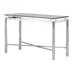 Steve Silver Furniture - Steve Silver Nova Sofa Table - Bring perfection and brilliance to your home with the Nova Sofa Table. A glass top and chrome x pattern base will make this collection your rooms centerpiece for years to come.