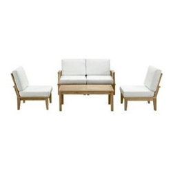 """LexMod - Marina 5 Piece Outdoor Patio Teak Sofa Set in Natural White - Marina 5 Piece Outdoor Patio Teak Sofa Set in Natural White - Harbor your greatest expectations with this luxurious solid teak wood outdoor set. Marina has a seating arrangement perfect for every member of your crew as you breathe the fresh crisp air of a day spent with friends and family. Known for its natural ability to withstand extreme weather conditions, teak is the wood selection of choice for long-lasting outdoor furnishings. Now you can enjoy Marinas durable construction and all-weather cushions, alongside a modern design that persistently looks new and welcoming. Zoom in on the product image before you, and see the exquisite texture and detail for yourself. Set Includes: One - Marina Teak Left-Arm Sofa One - Marina Teak Rectangular Coffee Table One - Marina Teak Right-Arm Sofa Two - Marina Teak Middle Sofa Solid teak wood construction, Richly textured wood graining, Water & UV Resistant Cushions, Machine Washable Covers Overall Middle Sofa Dimensions: 25""""L x 32.5""""W x 31.5""""H Overall Right-Arm Sofa Dimensions: 30.5""""L x 32.5""""W x 31.5""""H Overall Left-Arm Sofa Dimensions: 30.5""""L x 32.5""""W x 31.5""""H Overall Coffee Table Dimensions: 23.5""""L x 47""""W x 17.5""""H Floor to underside of table: 14.5""""H Table top thickness: 1""""H Overall Product Dimensions: 64""""L x 120""""W x 31.5""""H - Mid Century Modern Furniture."""