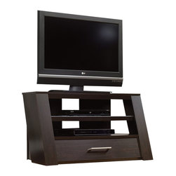 Sauder - Sauder Panel TV Stand in Jamocha Wood - Sauder - TV Stands - 413445 -