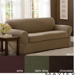 Maytex - Maytex Stretch 2-piece Pixel Sofa Slipcover - Freshen your couch with this soft, 2-piece sofa slipcover with 2-way stretch for a great fit and a subtly dotted texture for a classic look. Available in chocolate, sand, dark olive, and wine, its designed for sofas up to 96 inches long.