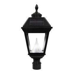"""Gama Sonic - Gama Sonic GS-97FG Imperial Solar Lantern Post Mount - Go Green with our Imperial Solar Lantern. Replace your outdated and energy-guzzling gas lamps or low voltage lighting with our energy-efficient solar powered lantern. The lantern fits over any existing 3"""" pole. Using ourpatented cone reflector technology, this classic gas lamp design solar lantern with super bright white LEDs will safely light your entry, elegantly enhance your home, and impress your neighbors."""