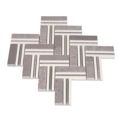 GlassTileStore - Sample-Adagio Lady Gray With Crystal White Line Marble Tile Sample - Sample-Adagio Lady Gray With Crystal White Line Marble Pattern 1/4 Sample  You are purchasing 1/4 of a Sheet sample. Samples are intended for color comparison purposes, not installation purposes.    -Glass Tiles -