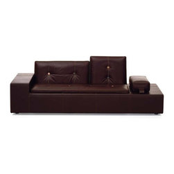 Vitra - Polder Leather XS Sofa by Hella Jongerius - Features: -Backrest cushion: Polyurethane chips and microfibers.-Structure and seat cushion: Polyurethane foam and polyester wool.-Armrest with sand weight.-Buttons made of natural materials.-Leather covers.-Constructed of wooden frame with belt upholstery.-Collection: Hella Jongerius.-Distressed: No.-Country of Manufacture: Germany.Dimensions: -Overall Dimensions: 30.75'' H x 89'' W x 37.75'' D.