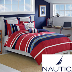 Nautica Brant Point Cotton 3-Piece Comforter Set - Bright stripes enliven this cozy comforter. And it's machine-washable, which is a huge plus when it comes to kids' rooms.