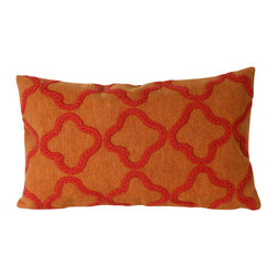 "Trans-Ocean - Crochet Tile Orange Pillow - 12""X20"" - The highly detailed painterly effect is achieved by Liora Mannes patented Lamontage process which combines hand crafted art with cutting edge technology.These pillows are made with 100% polyester microfiber for an extra soft hand, and a 100% Polyester Insert.Liora Manne's pillows are suitable for Indoors or Outdoors, are antimicrobial, have a removable cover with a zipper closure for easy-care, and are handwashable."