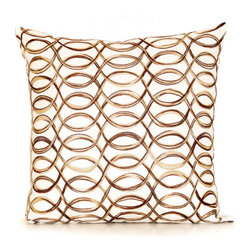 None - Scroll Pillow 20-inch Down Throw Pillow - Dress up your decor with this down filled decorative pillow. This soft pillow features ivory and brown stripes.