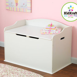 KidKraft - Austin Toy Box in White - Our Austin Toy Box lets kids keep all of their favorite toys in one convenient place. This sturdy toy box was built to last and would fit right in with any room setting. Features: -Austin toy box. -Color: white. -Material: Wood. -Safety hinge on lid protects young fingers from getting pinched. -Doubles as a bench for additional seating. -Helps keep bedrooms tidy and organized. -Smart, sturdy construction. -Packaged with detailed, step-by-step assembly instructions.