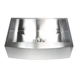 "Ariel - 33 Inch Stainless Steel Single Bowl Curved Front Farmhouse Apron Kitchen Sink - This durable farmhouse apron sink is hand crafted from 16 gauge stainless steel with a smooth curved front. Exterior Dimensions 33"" x 21"". Interior Dimensions 31"" x 17-1/2"". Apron Depth 10"". Bowl Depth 10""."