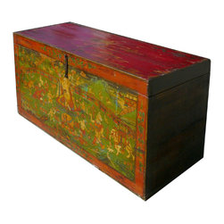 Old Restored Tibetan Teaching Scenery Wooden Trunk Table - This is an old wooden trunk with detail scenery of Tibetan lama teaching Buddhism with people gathering around, animals grouping together, trees growing blossom. It symbolizes the lecture of teacher is welcoming and blessing.