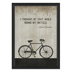 The Artwork Factory - Bicycle Einstein Framed Artwork - Ready-to-Hang, 100% Made in the USA, museum quality framed artwork