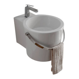 Scarabeo - Round White Ceramic Bucket Wall Mounted or Vessel Bathroom Sink, One Hole - Round white ceramic wall mounted or vessel bathroom sink. Handle styled towel bar is included with sink. Stylish round over the counter or suspended sink has one pre drilled hole. Made in Italy by Scarabeo.