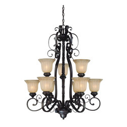 Jeremiah Lighting - 9 Light Chandelier - The La Grange family is truly a classic Mediterranean style with its heavy scrolled metal frame and turned wood center column. This family of Lights is finished in a Seville Iron, a blend of a dark bronze with subtle gold accents added to coordinate with many of today's interiors. The glass shading makes the difference with a very slight amber tone etching on a large bell shaped fluted shade.