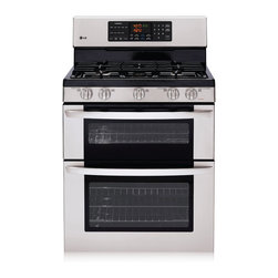LG - LG LDG3015ST 6.1 Cu. Ft Freestanding Double Oven Gas Range - If you want more space and flexibility while you cook, then look no further than their LG double oven. Their cook top with front controls offers ample space, so you can use large pans and skillets while still having two free ovens.