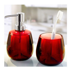Unique Round Bathroom Accessories Set - 2 Pieces , Red - Colorful round bathroom accessories set made from beautiful durable acrylic.  This 2 piece impact resistant contemporary round soap dispenser is unique, fun and very cool. Made in Germany. Tumbler (W) 3.5in x (H) 3.5in ; Dispenser (W) 3.5in x (H) 6.0in