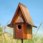 Mahogany Chateau Bird House - Mahogany - This gorgeous solid mahogany bird house features clean lines with a copper roof and convenient cleanout door for easy maintenance. May be pole mounted or stand alone.