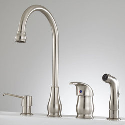 Barrow Widespread Kitchen Faucet with Side Spray and Soap Dispenser - A sleek and slender gooseneck spout gives the Barrow Widespread Kitchen Faucet an elegant feel. This faucet has both a soap dispenser and hand sprayer.