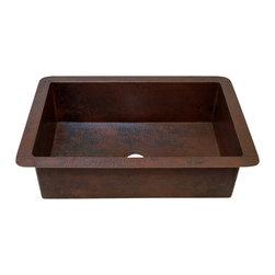 "Artesano Copper Sinks - Undemount Kitchen Copper Sink - Single Basin - Undemount Kitchen Copper Sink - Single Basin - 33 x 22 x 10.5"" - Rim 2.5"" - Inside 28 x 17 x 10"" - Drain 3.5"""