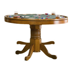 Coaster - Coaster Mitchell 3-in-1 Game Table in Oak - Coaster - Poker Tables - 100951 - Create a game room your guests will admire with the Mitchell collection. With solid oak construction for durability this group is available in either a cherry or oak finish to accommodate your stylistic needs. With highly functional and fun designs this three-in-one game table will make a great addition to your home. Relaxed style is demonstrated with delicate curves and charming carved detail in the pedestal base. The finished table top allows you to enjoy a casual meal or sip on your morning cup of coffee. Flip the top around and you will find a 42 inch dark green felt lined card table with cup holders and chip trays. If poker isn't your game the piece transforms into bumper pool table and includes pool sticks and balls! Features: