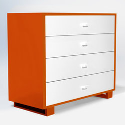 """ducduc - ducduc Austin 4 Drawer Dresser - Living up to the fun and sophistication of its company name, ducduc furniture delivers modern style to the today's family. A hint of retro inspiration lends a mid-century vibe to the Austin dresser while fresh color combinations and box frame feet update the look for today. Find plenty of storage in its 4 roomy drawers, each finished with painted square pulls and ducduc's signature orange interior. Its sleek design can be repurposed for use as a changing table with an optional changing tray. Made in the USA using sustainably harvested hardwood and water-based, non-toxic finishes. 46""""W x 20""""D x 38.5""""H. Choose from several color and finish combinations for frame, box frame legs and drawer fronts. Safety features include a wall mount anti-tipping strap and rabbeted joints for strength. Under-mounted soft close glides allow drawers to move smoothly. Low carbon footprint production techniques. Formaldehyde and lead-free. ducduc gives back to the community through several charities."""