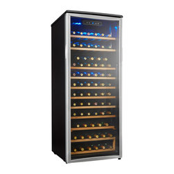 "Danby - Designer Wine Cooler - Danby Designer Wine Cooler - Holds up to 75 bottles of wine, Precisely set temperature between 6C - 14C (43F - 57F), Blue LED digital thermostat is easily accessible, All black cabinet and platinum trimmed door, Blue interior display light showcases the wine collection and illuminates without the heat of an incandescent bulb, 8.5 sliding wood shelves with beechwood face, Convenient reversible door swing for left of right hand opening, Tinted tempered glass door helps protect wine from harmful UV rays, unit dimensions 23 15/16"" W x 25 13/16"" D x 58 12/16"" H"