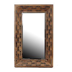 Privilege - Privilege Brown Two-tone Reclaimed Wood Wall Mirror - Add a charming touch to your home decor with this inviting wall mirror,showcasing a contemporary design and a rectangular shape. This mirror is crafted of glass and reclaimed wood with a brown finish.