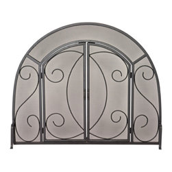 Uniflame - Uniflame S-1096 Single Panel Black Wrought Iron Ornate Screen w/ Doors - Single Panel Black Wrought Iron Ornate Screen w/ Doors belongs to Fireplace Accessories Collection by Uniflame