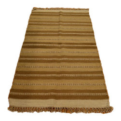 Hand Woven 100% Wool 3'X5' Striped Durie Kilim Oriental Rug SH7091 - Soumaks & Kilims are prominent Flat Woven Rugs.  Flat Woven Rugs are made by weaving wool onto a foundation of cotton warps on the loom.  The unique trait about these thin rugs is that they're reversible.  Pillows and Blankets can be made from Soumas & Kilims.
