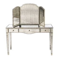 Lillian August - Lillian August Samantha Tri-View Dressing Mirror LA81541-01 - Aged silver finish with beveled mirrored glass, designed to accompany rosedale mirrored vanity.