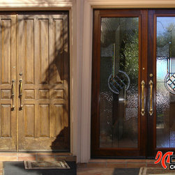 "Before & After - Wrought Iron Insert - These handcrafted beveled glass panels represent our ""Phoenician"" design, fabricated by fine craftsmen and insulated between two layers of tempered clear glass. To install our designs into your existing door we use stylish raised hardwood frames that we stain to match the finish of your door so that it looks as if it has always been a part of your door, not something that has been retrofitted."