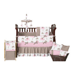 Sweet Jojo Designs - Pink Elephant 9-Piece Baby Crib Bedding Set by Sweet Jojo Designs - The baby bedding by Sweet Jojo Designs includes: comforter, bumper, dust ruffle, fitted sheet, toy bag, pillow, diaper stacker and 2 window valances.