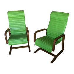 """Pre-owned Thonet Bentwood Lounge Chairs in Green - A Pair - These are beautiful, vintage chairs, in a very cool lime green naughahyde.  What fun!    Seller says: """"Green with envy is how we came to this pair.  We had to have them.  And the couple who owned them was happy about that. They were tireless collectors, and moving this pair out of their home made room for something else."""""""