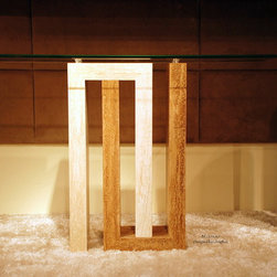 Marble Console Table Travertine and Tempered glass-BELLAGIO - Reference: CO304+CO304GLASS