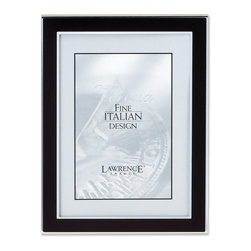 Lawrence Frames - Silver and Black 8x10 Metal Picture Frame - Contemporary silver metal picture frame with satin black metal front.  Beautiful black velvet backing with an easel for vertical or horizontal table top display.    High quality 8x10 metal picture frame is made with exceptional workmanship and comes individually boxed.