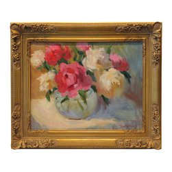 'Peonies' Framed Oil Painting - In full bloom. This original piece of artwork by noted impressionist Jennifer Hurley is rendered in a gorgeous color palette that will complement your traditional home. The still life is set in a French baroque-style frame carved with flowers.